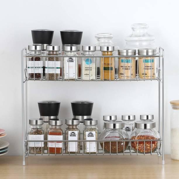 Daaduji Creations / Stainless Steel 2 Layer Multi-Purpose Kitchen Rack, Spice Rack, Storage Rack, Bathroom Shelf, Cosmetic Organizer Containers Kitchen Rack