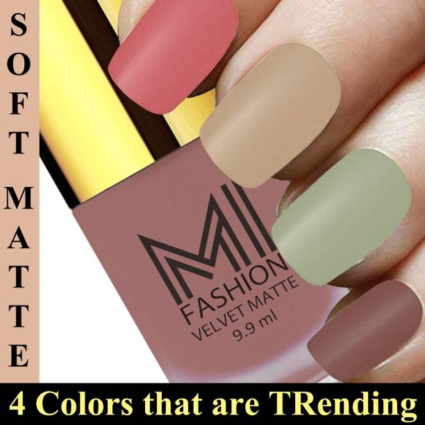 MI FASHION Knockout Shades Nail Polish Paint Set of 4 Long Lasting Candy Cotton,Nude,Mint,Dark Nude