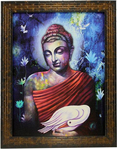 Indianara GAUTAM BUDHA (1303) WITHOUT GLASS Digital Reprint 13 inch x 10.6 inch Painting