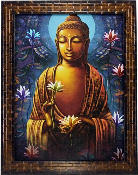 Indianara GAUTAM BUDHA (1304) WITHOUT GLASS Digital Reprint 13 inch x 10.6 inch Painting