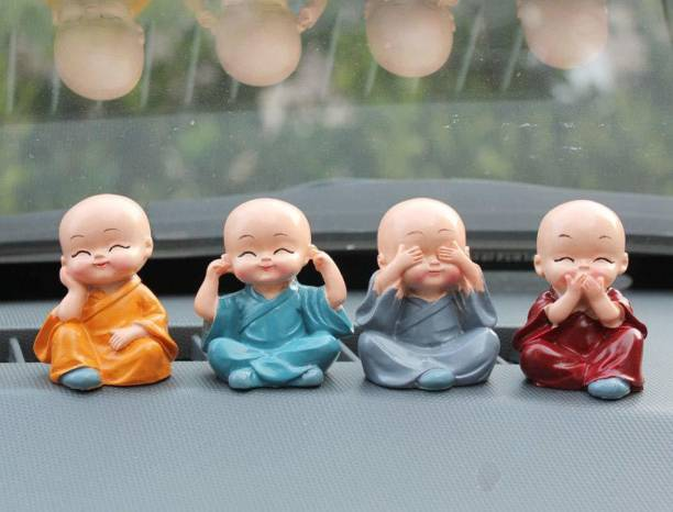 Lvi Craft Baby Monk Buddha Set Of 4 Statue for Home Office Car Dashboard Decor Decorative Showpiece  -  6 cm