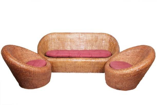 IRA Cane Sofa Set Fabric 3 + 1 + 1 Matte Sofa Set