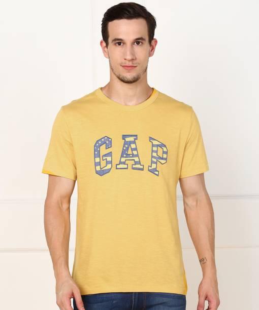GAP Applique Men Round Neck Yellow T-Shirt