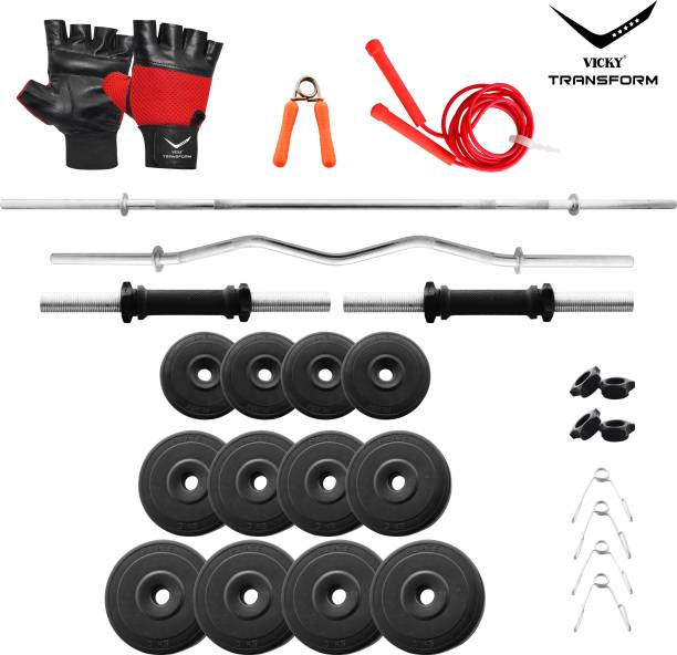Vicky Transform 40 kg PVC 40 Kg Curl And Straight Rod Super Deluxe Combo Home Gym Combo