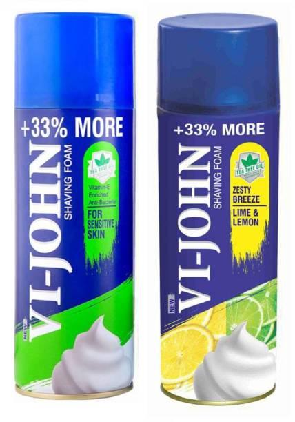 VI-JOHN SHAVING FOAM FOR SENSITIVE SKIN and LIME & LEMON