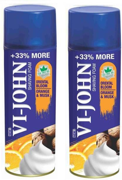 VI-JOHN SHAVING FOAM ORANGE MUSK 400 gm Each (Pack of 2)