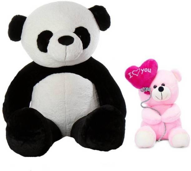ToyKing Combo Offer 5 Feet Panda Teddy Bear With 26CM Pink I Love You Balloon Teddy Bear  - 151 cm