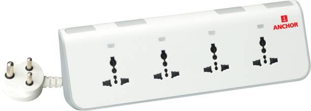 Anchor By Panasonic Spike Guard - 4 Universal Socket with Individual Switch and Indicator 4  Socket Extension Boards