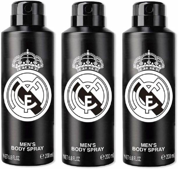 Real Madrid Original Black Combo Pack Of 3 Deodorant Spray Deodorant Spray  -  For Men