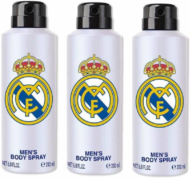 Real Madrid Original White Combo Pack Of 3 Deodorant Spray Deodorant Spray  -  For Men
