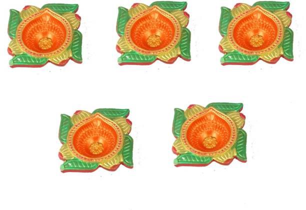 SUNINOW Festival-Occation : Navratra, Diwali, Christmas, Home Pooja, Aarti Pooja, Temple Pooja, All Festival | Handmade Terracotta (Pack of 5) Table Diya Set