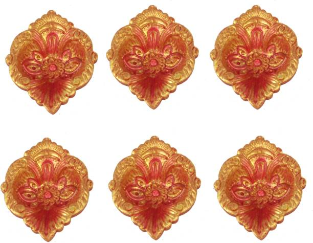 SUNINOW Handmade Earthen Clay/Terracotta Decorative Dipawali/Diwali Diya/Tealight/Oil Lamps for Pooja/Puja | Diya for Diwali Terracotta (Pack of 6) Table Diya Set
