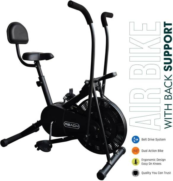 Reach AB-110BS Air Bike Stationary Exercise Cycle With Back Support Seat & Moving handle Upright Stationary Exercise Bike