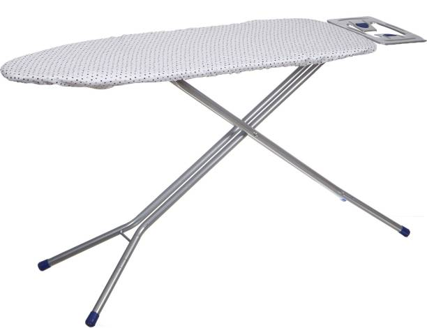 NHR Metal Foldable Anti Skid Ironing Board with Heat Resistant Iron Holder Ironing Board