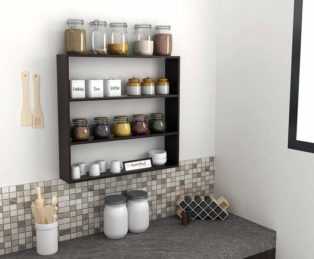 StyleWud StyleWud Kitchen Wall Shelf Rack (Wenge) Engineered Wood Kitchen Cabinet