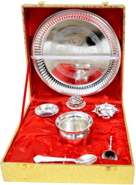 ME&YOU Silver Plated Decorative Ganesh Laxmi Embossed Puja Thali for Diwali Poojan, Dhanteras, Hawan Puja, Diwali Pujan, Navrata Pujan, Durga Pujan Steel