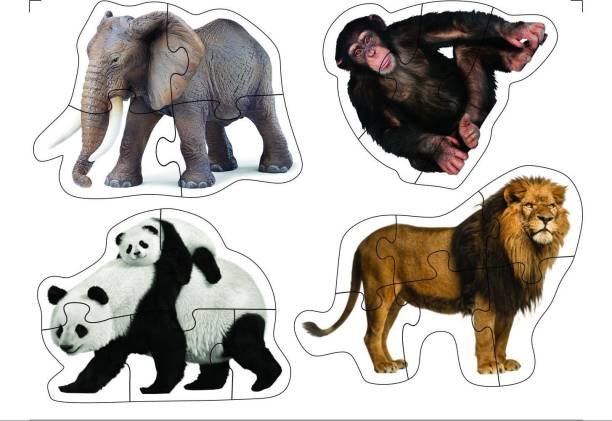 Miss & Chief Mini Jigsaw Puzzle Wild Animals Set Of 4 For Kids