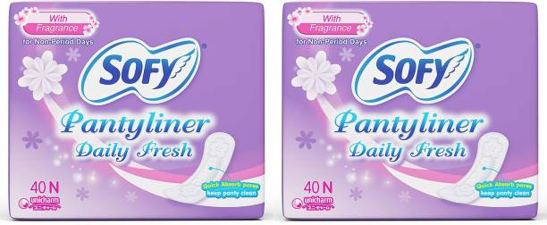 SOFY DAILY FRESH PANTY LINER, 40 Pcs PACK, COMBO OF 2 PACKS Pantyliner