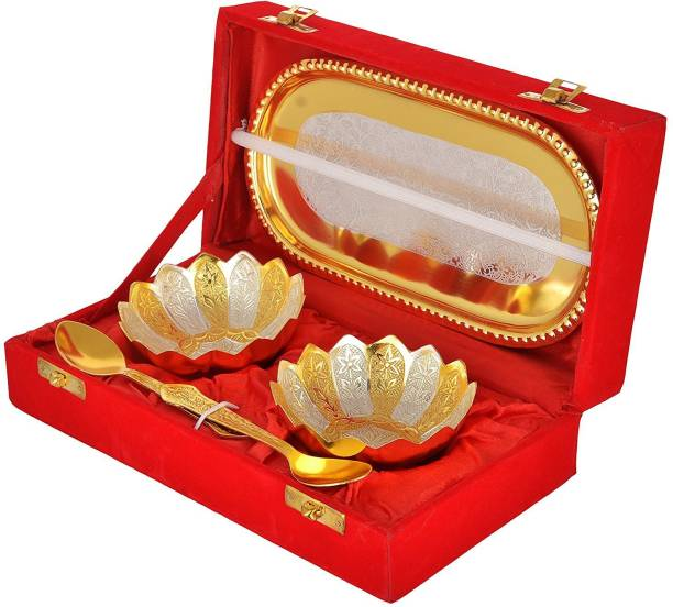 Advika Handicraft Silver And Gold Plated Floral Shaped Brass |2 Bowl |2 Spoon| 1 Tray Set Bowl, Spoon, Tray Serving Set