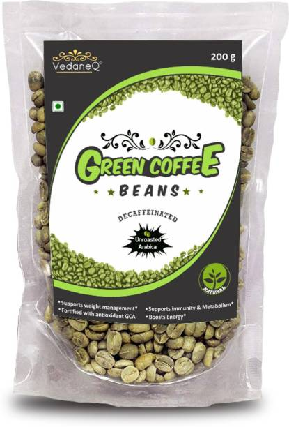 VedaneQ Green Coffee Beans Weight loss Unroasted Arabica 200gm Instant Coffee