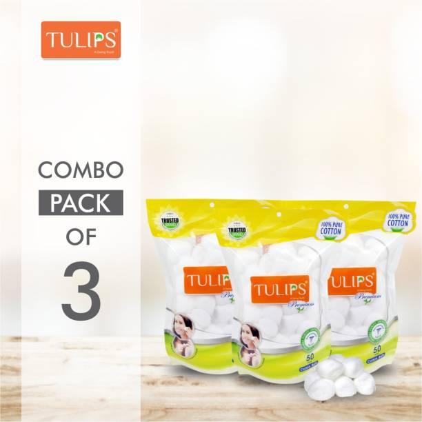 Tulips 50 Premium Cotton Ball in a Ziplock bag (Pack of 3)