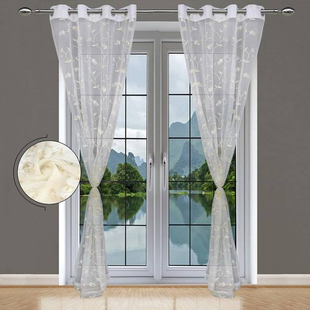 JVIN FAB 152.4 cm (5 ft) Polyester Window Curtain (Pack Of 2)
