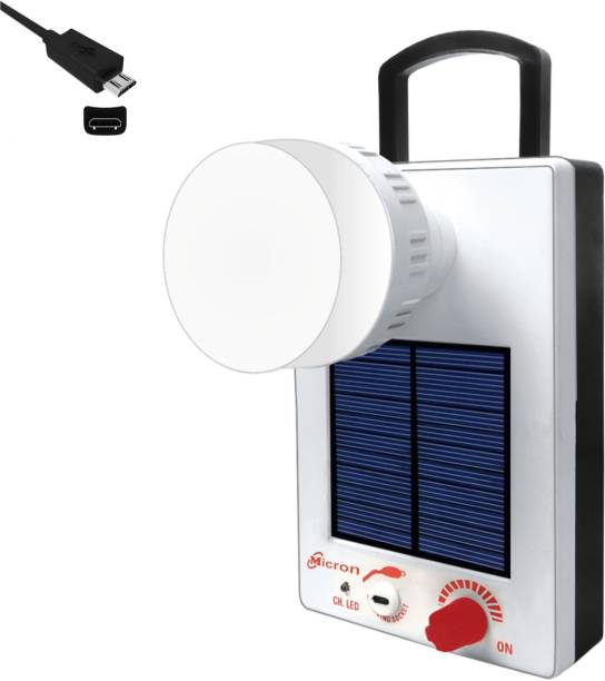 Micron 12 Watt Night bulb with Emergency Light Rechargeable Solar Light White, Black Plastic Hanging Lantern