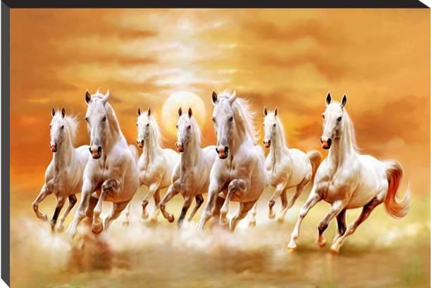 Masstone Vastu Seven Running Horses Self Adhesive 6mm MDF Panel Painting Digital Reprint 12 inch x 18 inch Painting