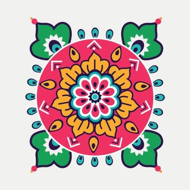 rangoli M Sticker Poster|Diwali Poster|festival decoration Poster Paper Print