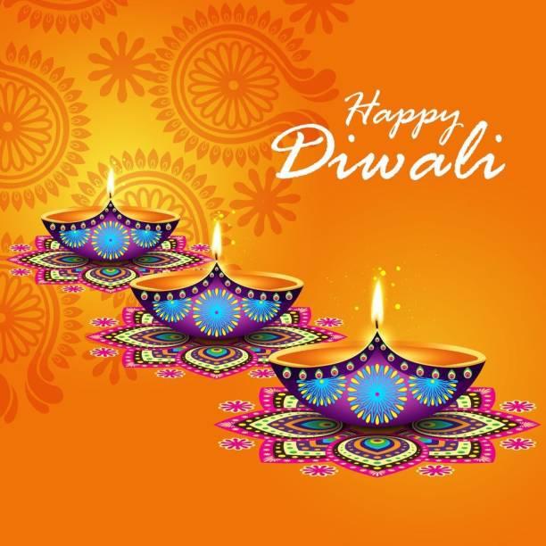 beautiful diya with happy diwali |festival poster|diwali poster|poster for diwali|diya poster|dia poster|rangoli poster|poster for home,gym,office|12x18 inch|sticker paper poster Paper Print