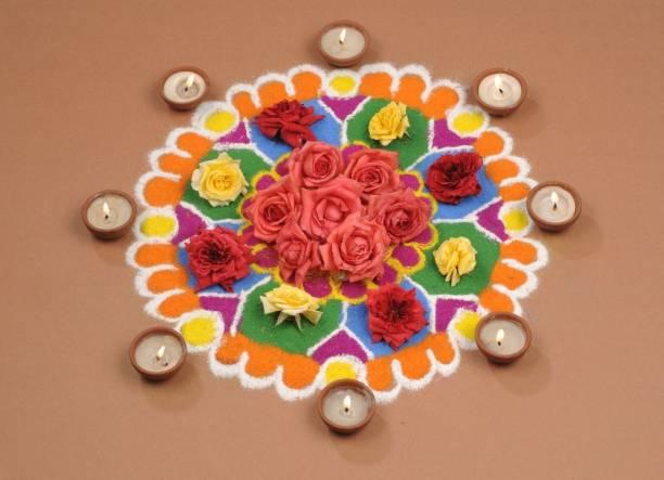 Deepak colourful rangoli Sticker Poster|Diwali Poster|Festival Poster Paper Print