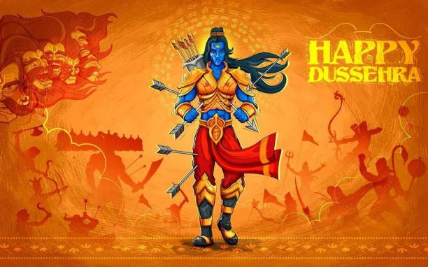 happy dushera |festival poster|diwali poster|poster for diwali|diya poster|dia poster|rangoli poster|poster for home,gym,office|12x18 inch|sticker paper poster Paper Print