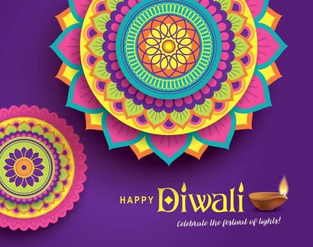 KD rangoli with happy Sticker Poster|Diwali Poster|Festival Paper Print