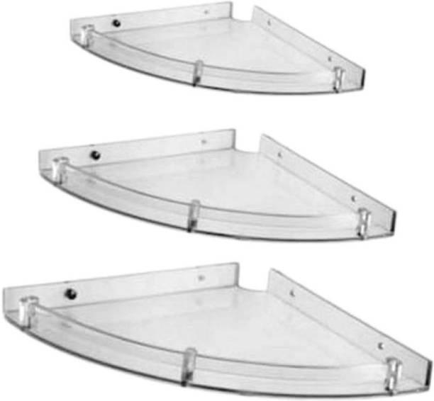"""LOGGER - Acrylic Unbreakable Corner Set of 3 pcs (Size :- 5X5"""" inches, 7X7"""" inches, 9X9"""" inches) Acrylic Wall Shelf"""