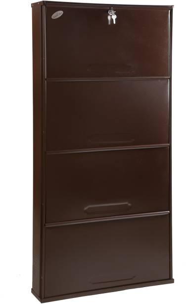 Babbar steel 26 Inches Wide 4 Door Powder Coated Wall Mounted Metallic Shoe Rack (Brown,4 Shelves) Metal Shoe Rack