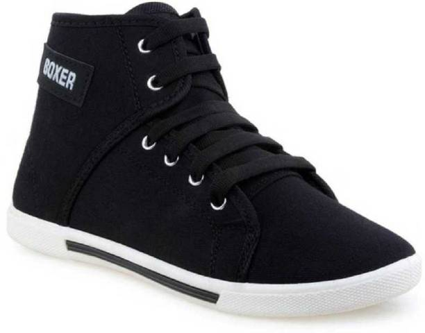 Boxer Trending Sneakers For Men's Casual Boxer Shoes Black High Tops For Men