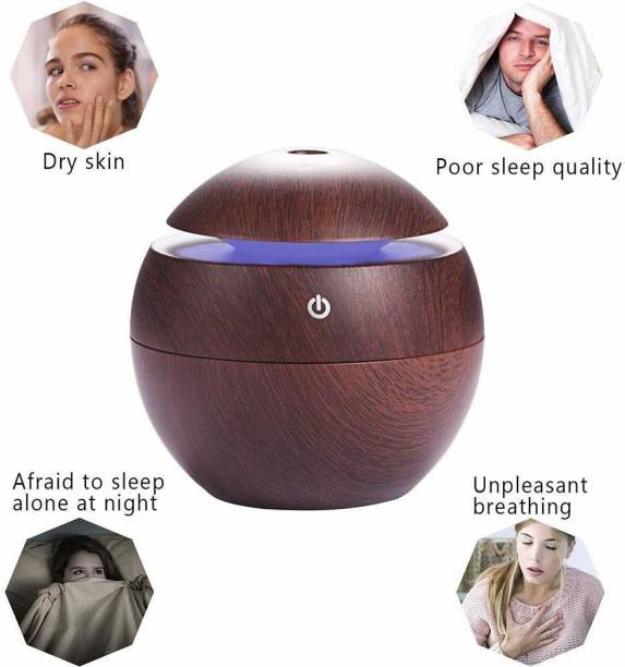 Jeval wooden Humidifier, Air Purifier (BROWN) Portable Room Air Purifier Refill, Diffuser, Aroma Oil