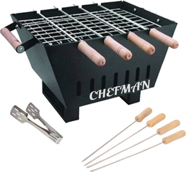 Chefman Exclusive Portable & Picnic Barbeque with 6 Skewers & 1 Grill (Heat Proof Legs) Charcoal Grill