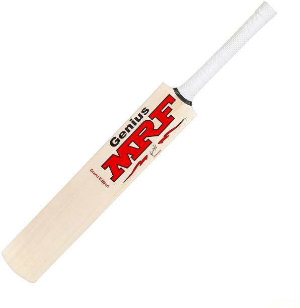 MRF ENDORSED | for Light/Hard Tennis Ball [with Cover] | Full Size (SH) Natural Poplar Willow Cricket  Bat