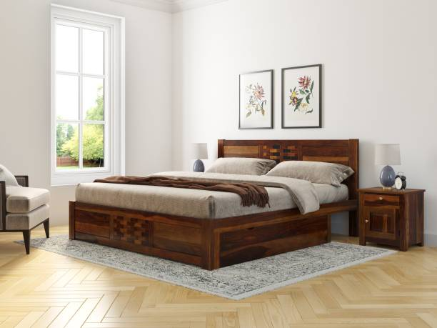 Induscraft Sheesham Wood Solid Wood Queen Drawer Bed
