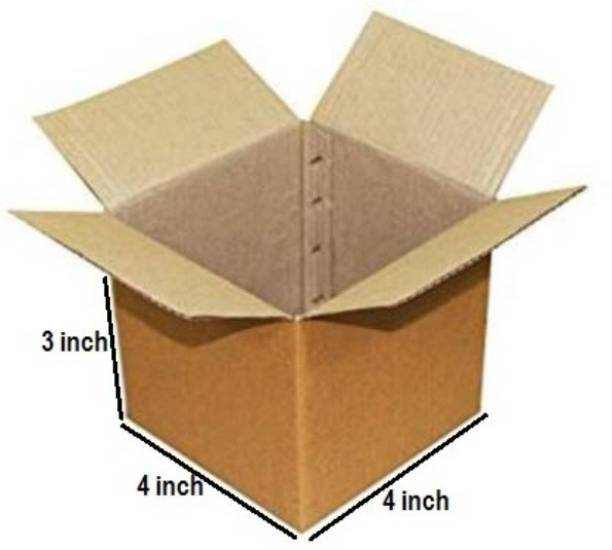 Boxzie Corrugated Cardboard 3 Ply Corrugated Box Size LxWxH - 4x4x3 Inches Packaging Box