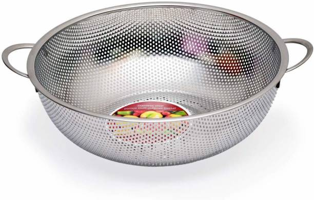 Dreamshop Stainless Steel Kitchen Fruit Vegetable Rice Washing Baskets Noodles Pasta Washing Bowl Strainer Drainer with Handle Stainless Steel Strainer