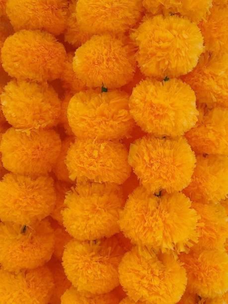 Bhavik Handicraft Marigold Flower Garlands 5 Feet Long, for Parties, Ganesh Festival Decorations, Home Decoration, Photo Prop, Diwali, Festival Garland