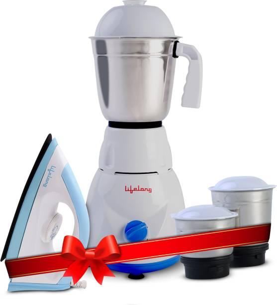 Lifelong LLCMB02 500 W Mixer Grinder (White, 3 Jars) & 1100 W Dry Iron (White, Blue) Super Combo