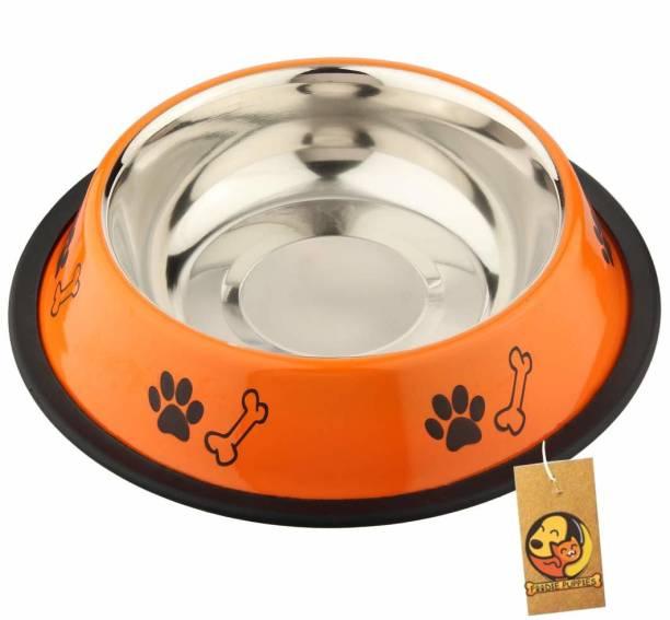 FOODIE PUPPIES Stainless Steel Paw Bone Printed Food Water Feeding Bowl for Dogs & Puppies (Medium, 700ml, Fiery Orange) Round Steel Pet Bowl