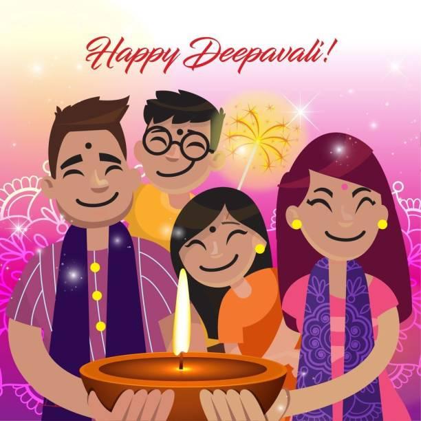 Family celebrating deepawali |festival poster|diwali poster|poster for diwali|diya poster|dia poster|rangoli poster|poster for home,gym,office|12x18 inch|sticker paper poster Paper Print