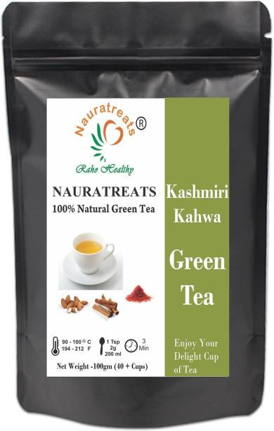 Nauratreats Kashmiri Kahwa Green Tea for Weight Loss, 100gm Spices, Almond, Rose Green Tea Pouch