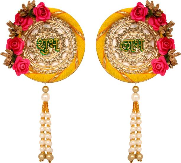 Sharda Creations SHUBH-LABH with Flower Border Door Hanging Sider for Home Decoration/Diwali Decoration(Yellow&Pink) Toran
