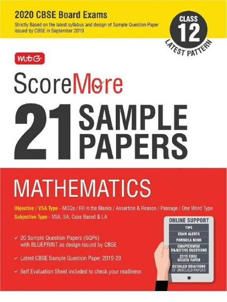 Scoremore 21 Sample Papers Cbse Boards as Per Revised Pattern for 2020 Class 12 Mathematics