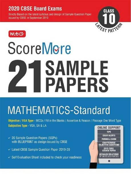 Scoremore 21 Sample Papers Cbse Boards as Per Revised Pattern for 2020 Class 10 Mathematics Standard